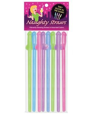 Glow In The Dark Penis Straws - Asst. Colors Pack Of 8