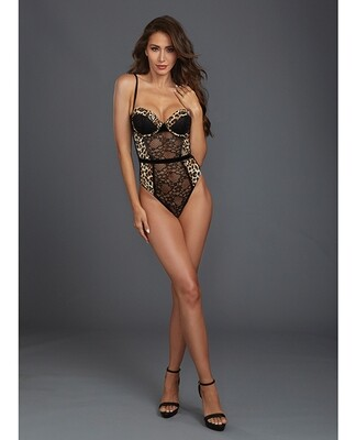Stretch Lace & Mesh Underwire Molded Cup Teddy W/cheetah Print