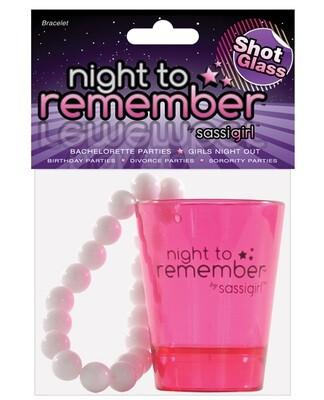 Night To Remember Shot Glass Bracelet By Sassigirl - Pink