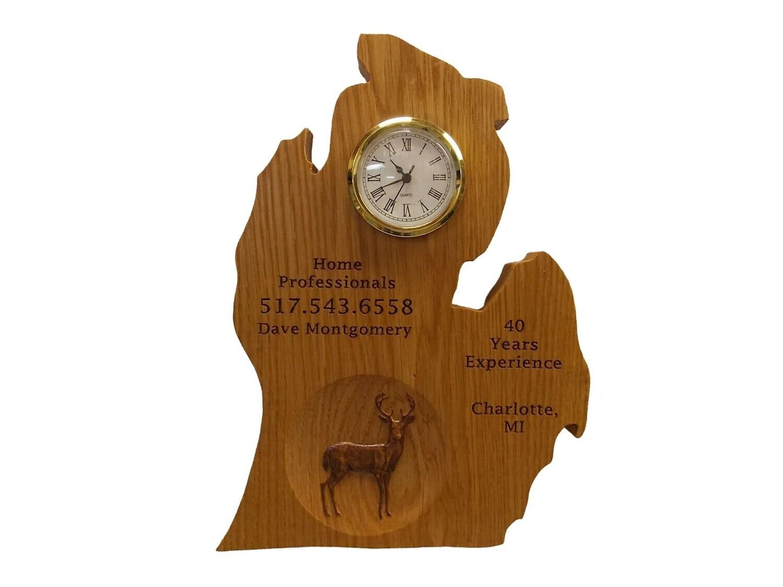 Deer Wall Clock Wood Carving  - Michigan Cut Out