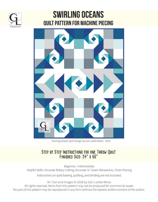 Swirling Oceans Quilt Pattern - PDF Download