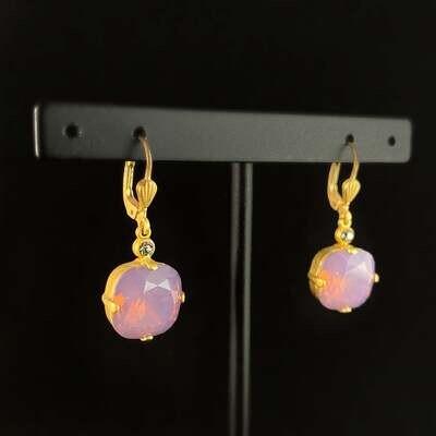 Cushion Cut Swarovski Crystal Drop Earrings, Milky Purple - La Vie Parisienne by Catherine Popesco