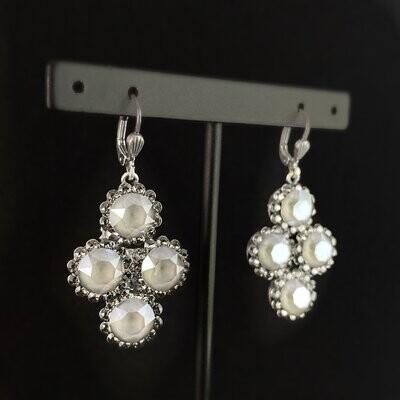 Round Cut Swarovski Crystal Drop Earrings, Smoky Gray - La Vie Parisienne by Catherine Popesco