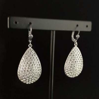 Teardrop Shape Swarovski Crystal Earrings, Clear - La Vie Parisienne by Catherine Popesco