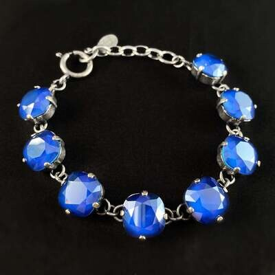 Cushion Cut Swarovski Crystal Bracelet, Cobalt Blue - La Vie Parisienne by Catherine Popesco