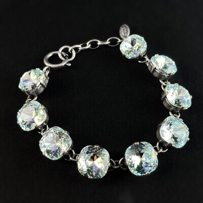 Cushion Cut Swarovski Crystal Bracelet, Light Blue - La Vie Parisienne by Catherine Popesco