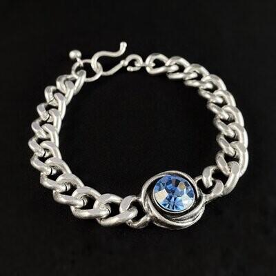 Silver Link Bracelet with Blue Crystal, Handmade, Nickel Free
