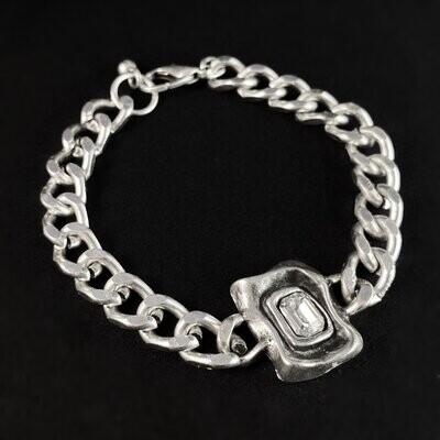 Silver Link Bracelet with Clear Crystal, Handmade, Nickel Free