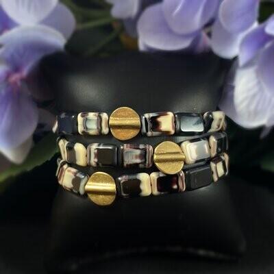 Marbled Bead Geometric Art Deco Style Bracelet - 18kt Gold Over Brass with Czech Glass - David Aubrey Jewelry