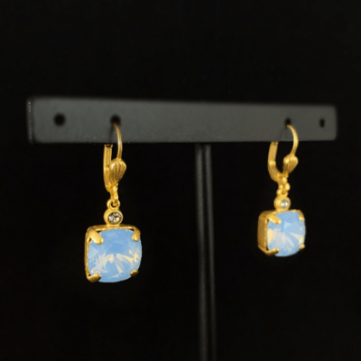 Blue Opal Square Cut Swarovski Crystal Drop Earrings - La Vie Parisienne by Catherine Popesco