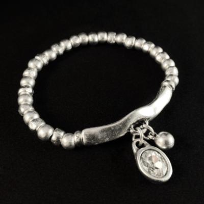 Silver Beaded Bracelet with Clear Crystal, Handmade, Nickel Free
