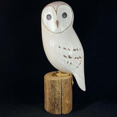 Handmade, Hand-painted Wooden Barn Owl