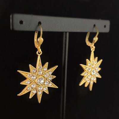 Gold Art Deco Star Earrings with Clear Swarovski Crystals - La Vie Parisienne by Catherine Popesco