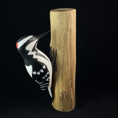 Handmade, Hand-painted Downy Woodpecker