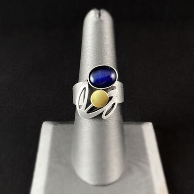 Lightweight Handmade Geometric Aluminum Ring, Silver and Blue