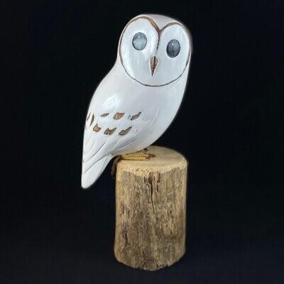 Handmade, Hand-painted Wooden Baby Barn Owl