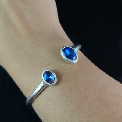 Silver Cuff Bracelet with Blue Crystals, Handmade, Nickel Free