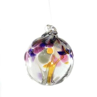 "Handmade Glass Art 2"" Globe Ornament - Tree of Grandparents"