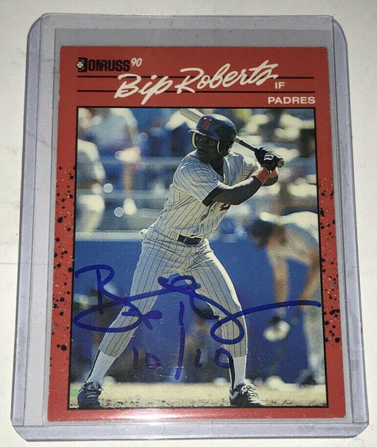 Bip Roberts 1990 Donruss Autographed Baseball Card