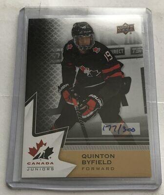 Quinton Byfield Upper Deck Canada Juniors /300 2020 Fall Expo
