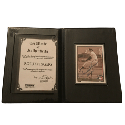 Rollie Fingers Autographed Baseball Card By Treat