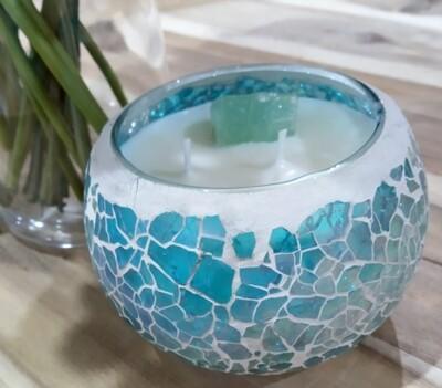 Aquamarine crackle candle