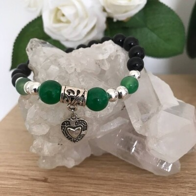 Crystal with heart lavabead bracelet