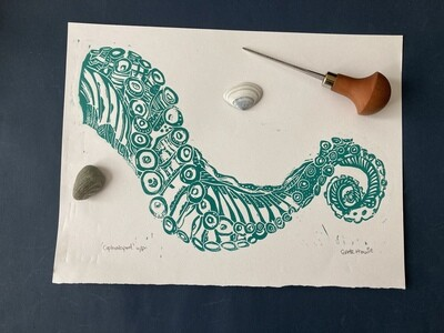 Octopus lino print Cephalopod
