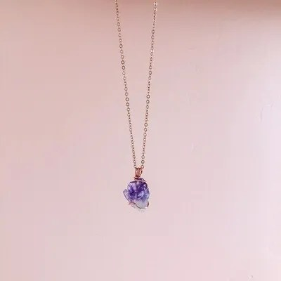 Amethyst Necklace, Rose Gold