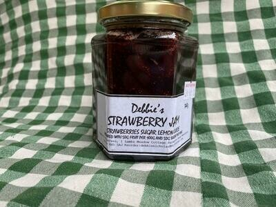 Jam: Strawberry. Debbie's. Should be back in stock once the new season's fruit has been picked.