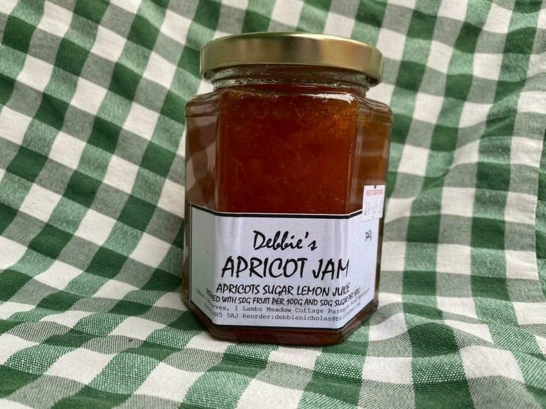 Preserves: jam, apricot. Debbie's, Newdigate.