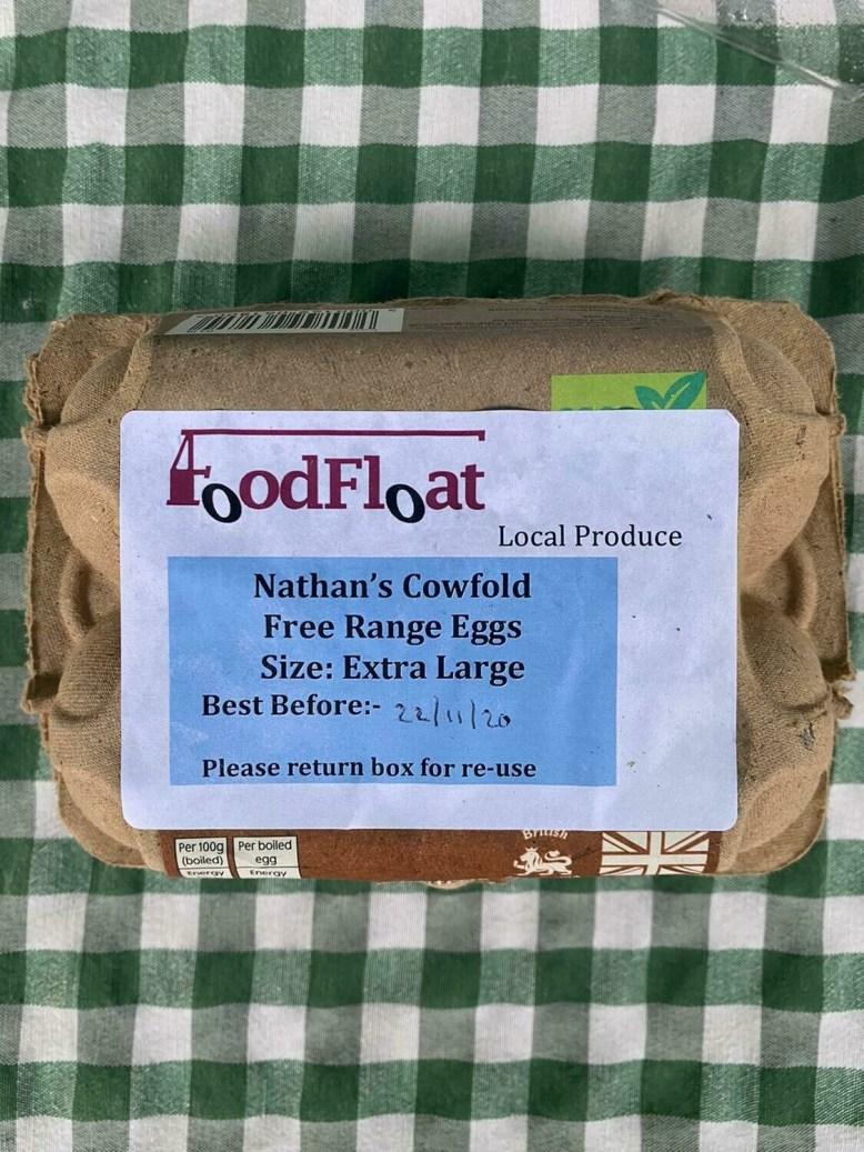 Free-range hen eggs: box of six extra large. Nathan's.