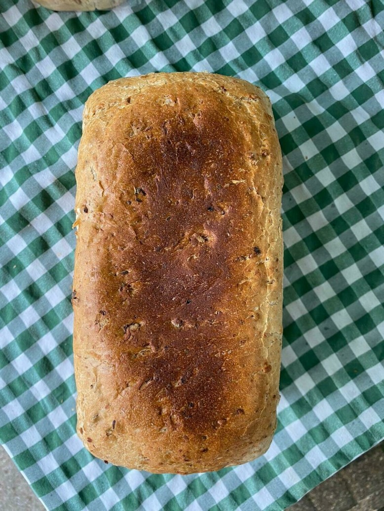 Bread: granary loaf, large. Cranleigh Bakery.