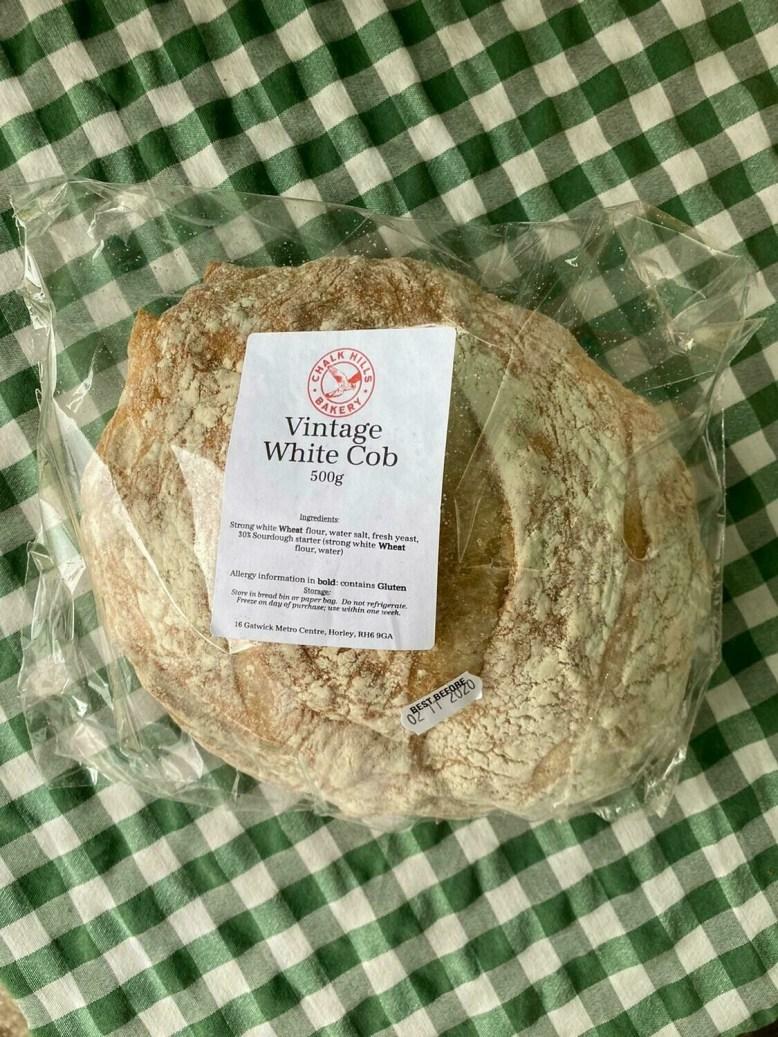 Bread: white cob (vintage), Chalk Hills Bakery.