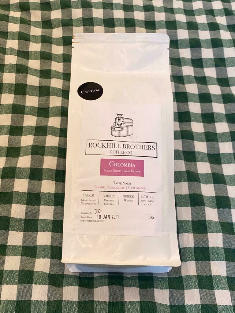 Coffee: 'cafetiere grind' (250g). Rockhill Brothers Coffee Co.