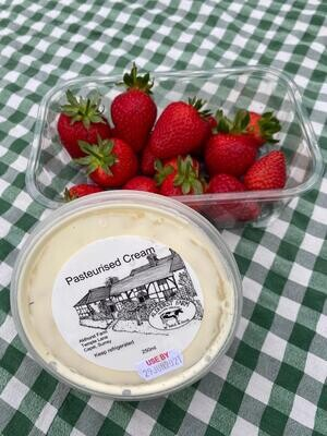 And a treat. Strawberries & cream. From Secretts of Milford and Aldhurst Farm, Capel.