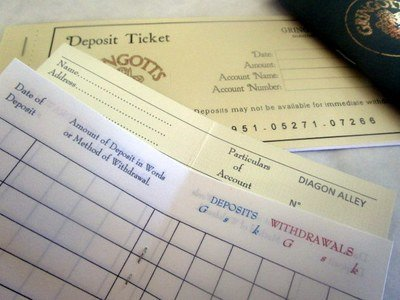 Wizarding Deposit Slips & Bank Book