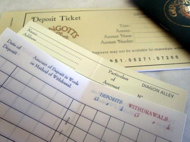 Wizarding Deposit Slips & Bank Book