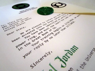 Green Superhero Corps Acceptance Letter