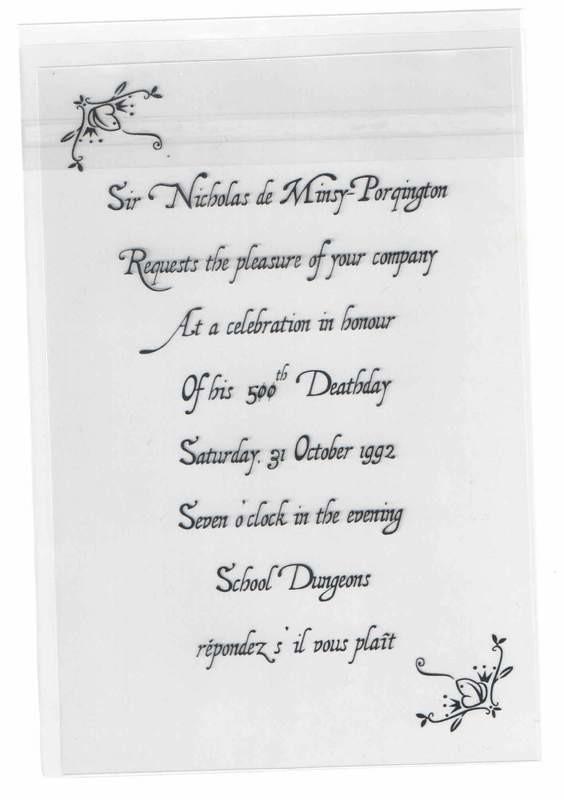 Nick's Deathday Invitation