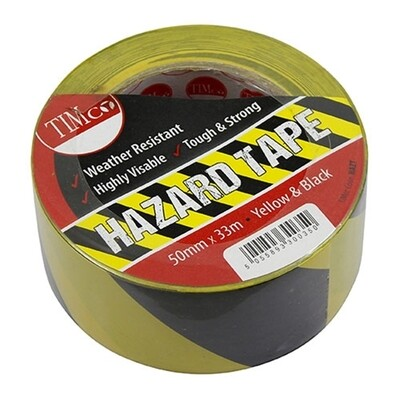 Hazard Tape 50mm x 33 Metres Yellow & Black