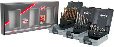 Ruko High Quality Set of 3 sets - Countersinks - Drills - Taps
