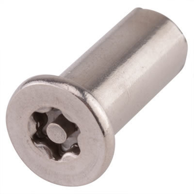 M4 x 12  Countersunk Joint Connector Nuts A2 Stainless Steel Torx TX20 Pin Security Pack of 100