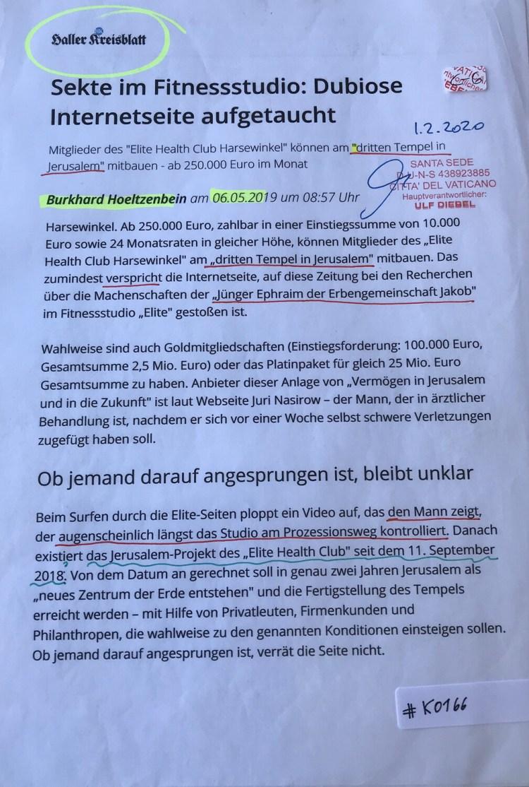 #K0166 l Haller Kreisblatt - Sekte im Fitnessstudio: Dubiose Internetseite aufgetaucht
