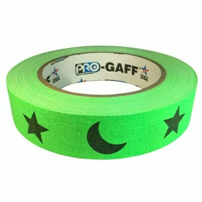 Matte Gaffer Tape, Stars and Moons on Green (Pro-Gaff)