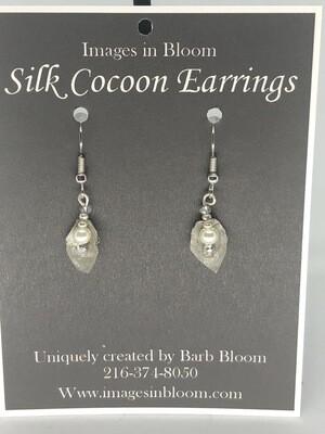 Silk Cocoon Tiny Leaf earring
