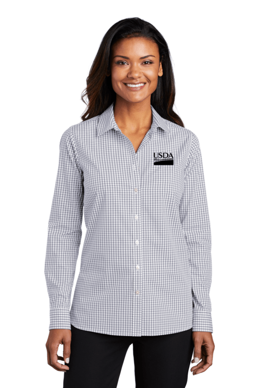Ladies Broadcloth Gingham Easy Care Shirt  Custom Embroidery Available