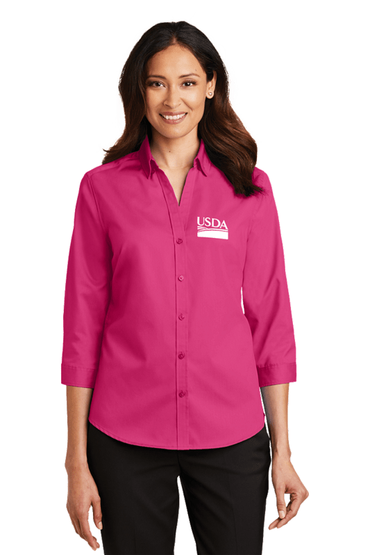 Port Authority® Ladies 3/4-Sleeve SuperPro™ Twill Shirt  Custom Embroidery Available