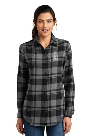 Port Authority® Ladies Plaid Flannel Tunic Grey Black