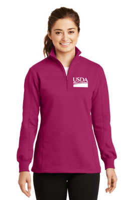Ladies 1/4 Zip Ring Spun Cotton Fleece  Custom Embroidery Available